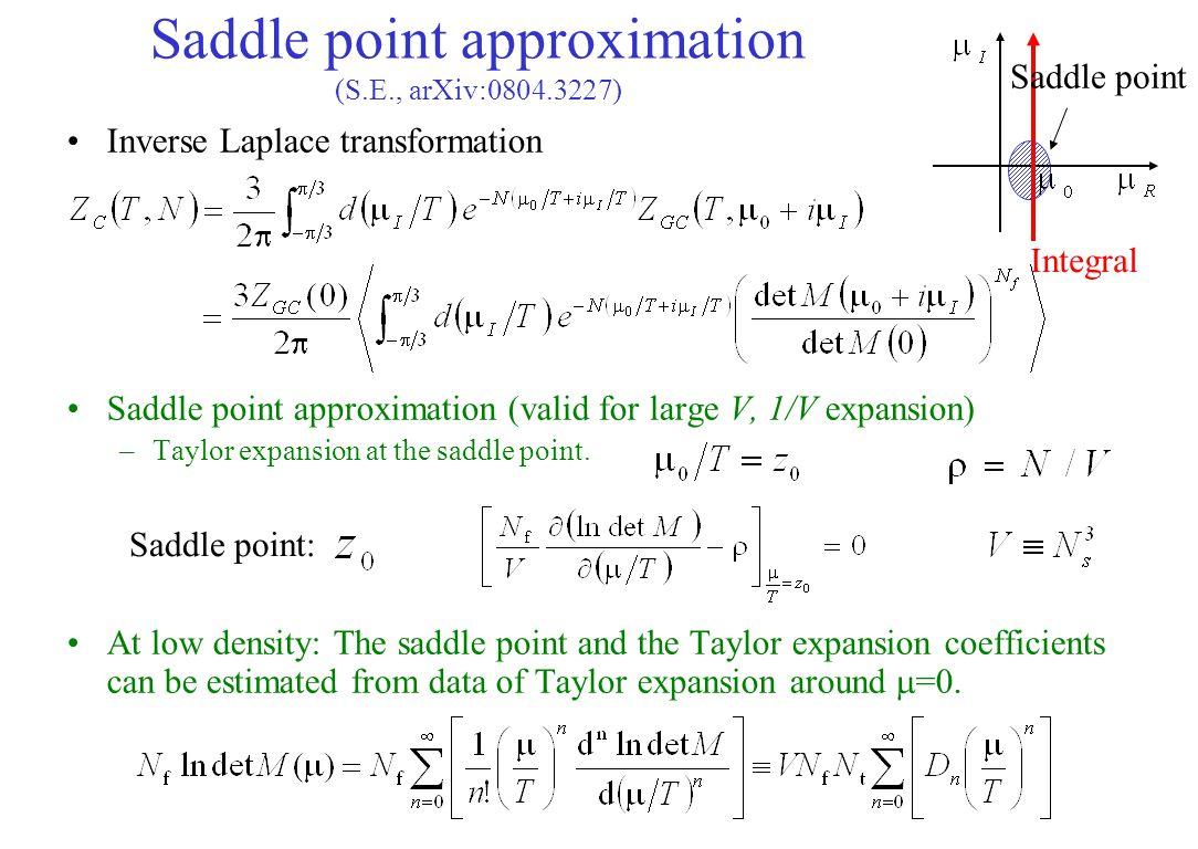 Inverse Laplace transformation Saddle point approximation (valid for large V, 1/V expansion) –Taylor expansion at the saddle point. At low density: Th