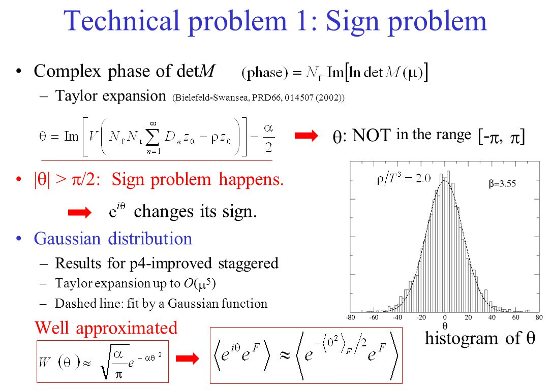 Technical problem 1: Sign problem Complex phase of detM –Taylor expansion (Bielefeld-Swansea, PRD66, 014507 (2002)) |  | >  /2: Sign problem happens