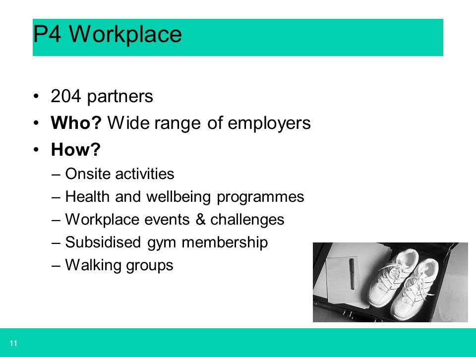 11 P4 Workplace 204 partners Who? Wide range of employers How? –Onsite activities –Health and wellbeing programmes –Workplace events & challenges –Sub