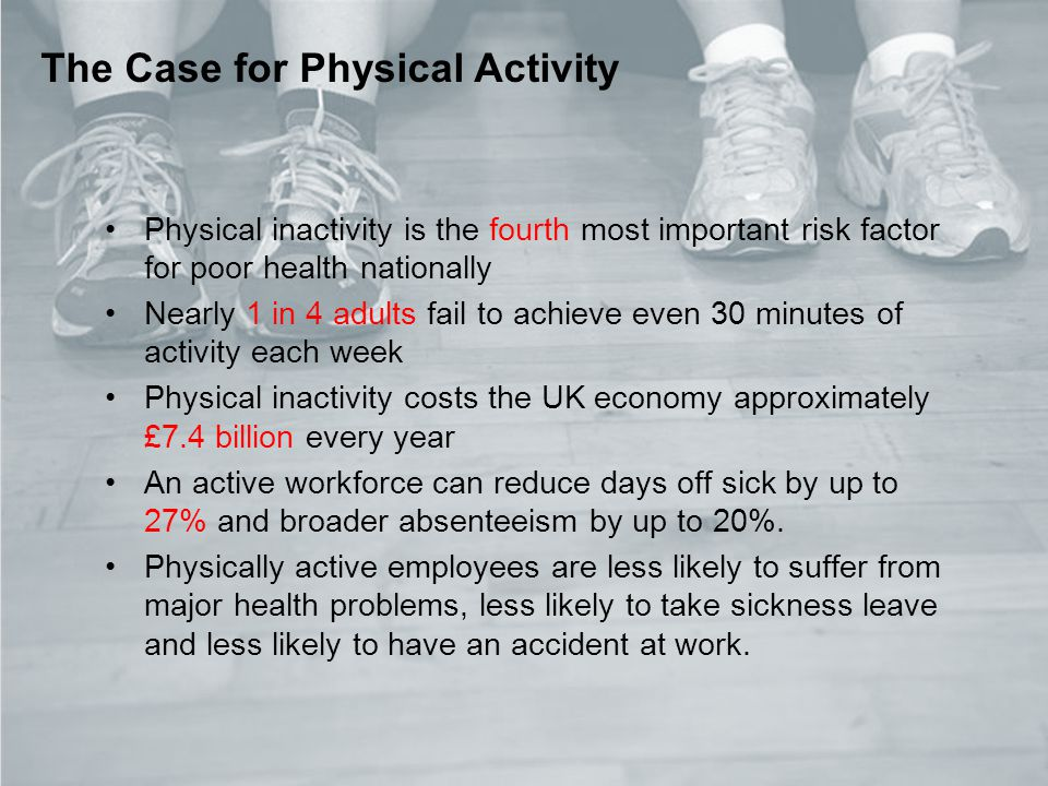 3 Role of healthcare professionals in promoting physical activity The Case for Physical Activity Physical inactivity is the fourth most important risk