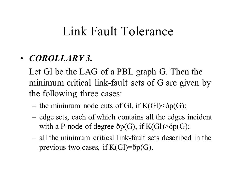 COROLLARY 3. Let Gl be the LAG of a PBL graph G.
