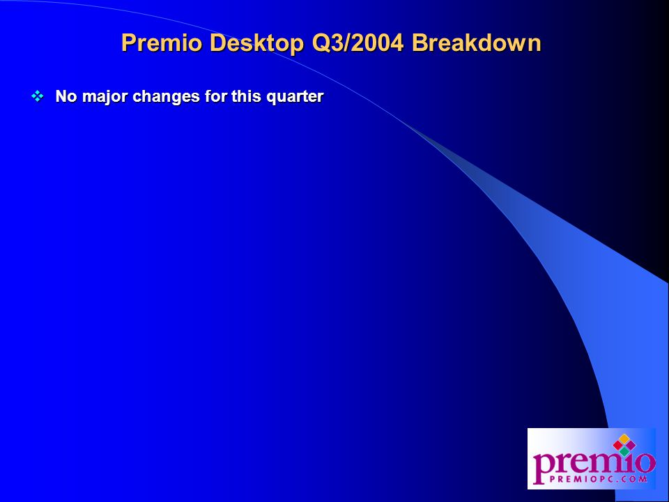 Premio Desktop Q3/2004 Breakdown  No major changes for this quarter