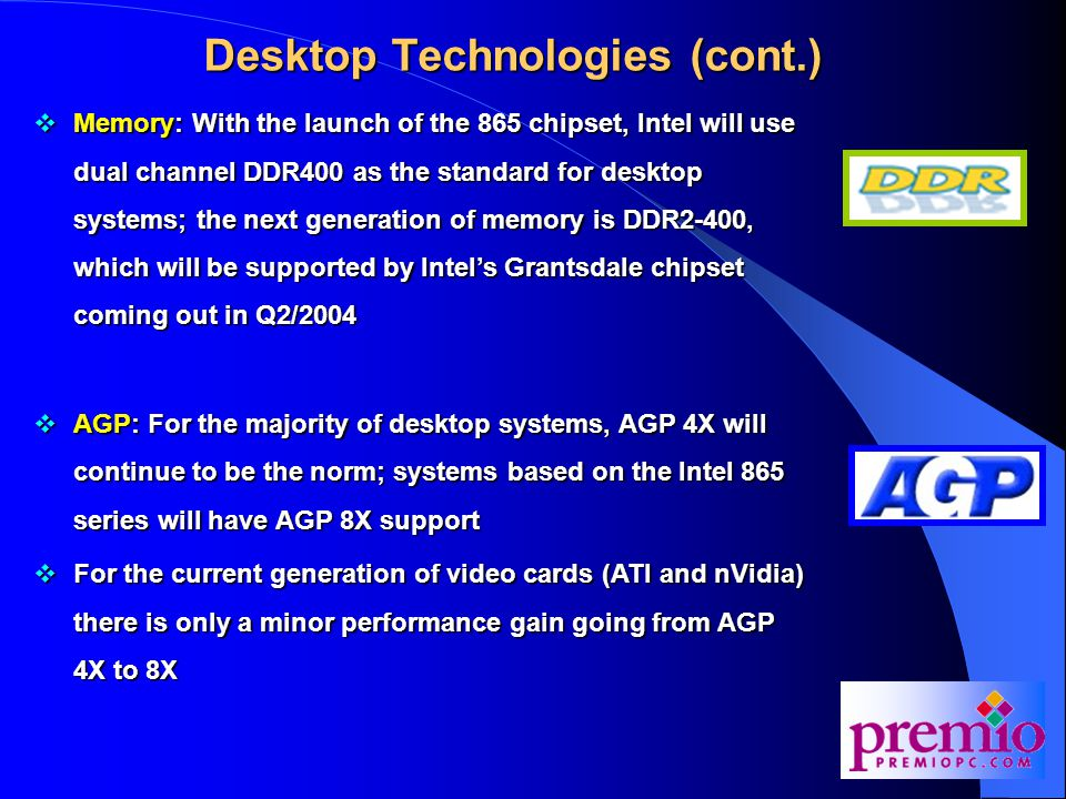 Desktop Technologies (cont.)  Memory: With the launch of the 865 chipset, Intel will use dual channel DDR400 as the standard for desktop systems; the