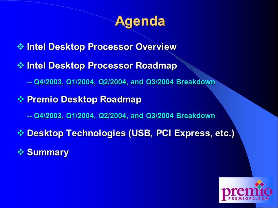 Agenda  Intel Desktop Processor Overview  Intel Desktop Processor Roadmap -- Q4/2003, Q1/2004, Q2/2004, and Q3/2004 Breakdown  Premio Desktop Roadmap -- Q4/2003, Q1/2004, Q2/2004, and Q3/2004 Breakdown  Desktop Technologies (USB, PCI Express, etc.)  Summary