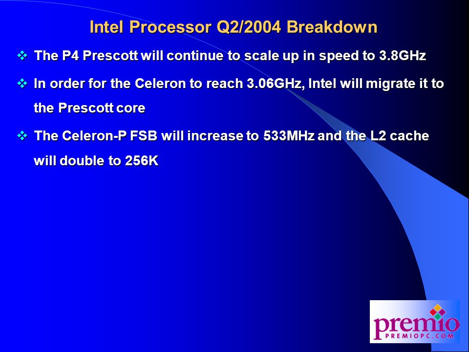 Desktop Technologies (cont.)  PCI Express: This new bus will replace the aging PCI slot, which is more than 10 years old now  PCI Express will first appear in the Intel Grantsdale chipset, which will launch in Q2/2004  The main advantages of PCI Express are:  1.