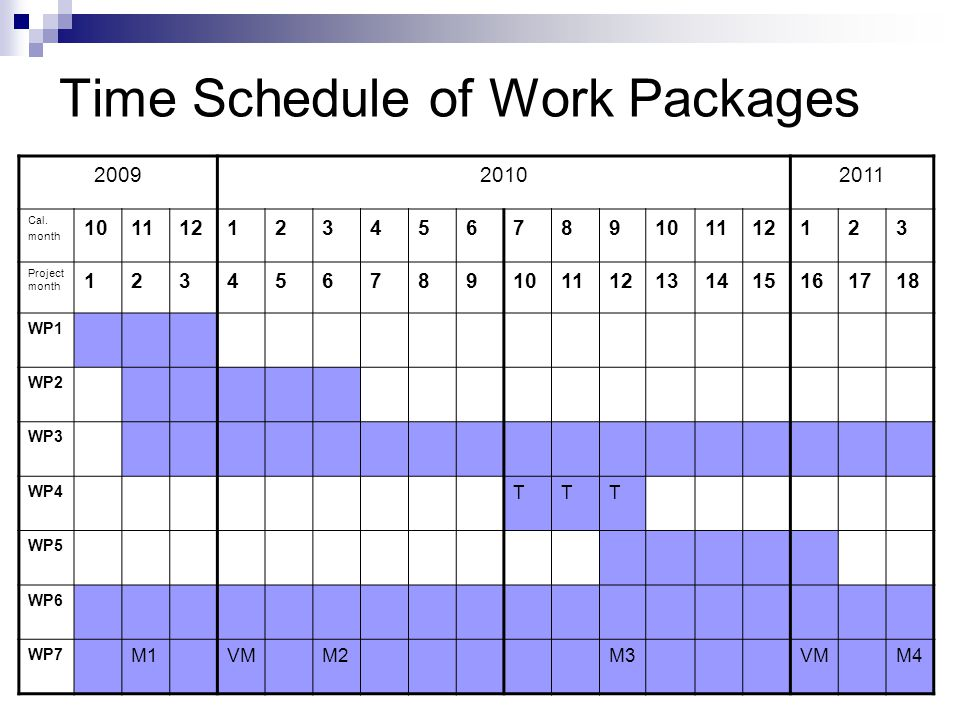 Time Schedule of Work Packages 200920102011 Cal.
