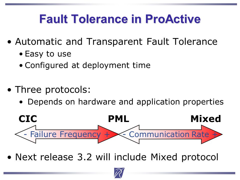 Christian Delbe14 Automatic and Transparent Fault Tolerance Easy to use Configured at deployment time Three protocols: Depends on hardware and application properties CIC PML Mixed Next release 3.2 will include Mixed protocol Fault Tolerance in ProActive - Failure Frequency + - Communication Rate +