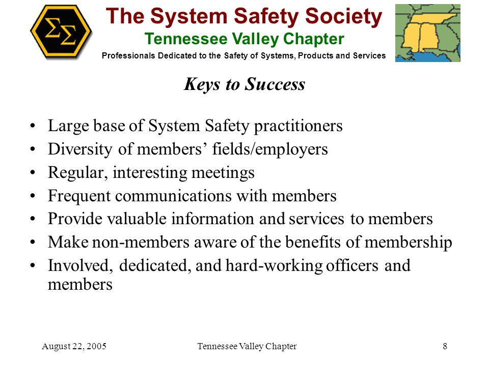 The System Safety Society Tennessee Valley Chapter Professionals Dedicated to the Safety of Systems, Products and Services August 22, 2005 Tennessee Valley Chapter8 Large base of System Safety practitioners Diversity of members' fields/employers Regular, interesting meetings Frequent communications with members Provide valuable information and services to members Make non-members aware of the benefits of membership Involved, dedicated, and hard-working officers and members Keys to Success