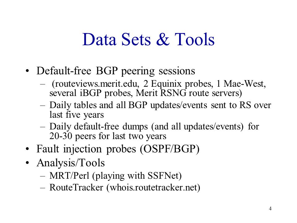 5 Internet BGP Update Volume Withdraws in millions until 2/1998 due to withdraw looping/Cisco bug.