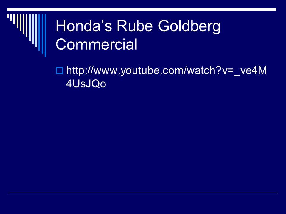 Honda's Rube Goldberg Commercial  http://www.youtube.com/watch?v=_ve4M 4UsJQo