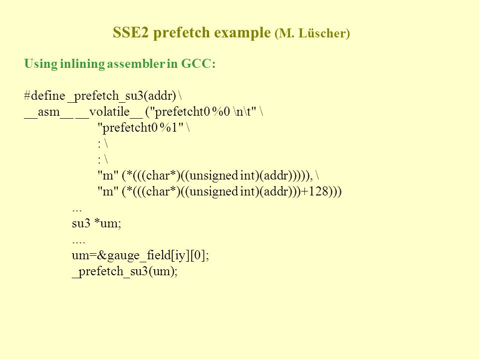 SSE2 prefetch example (M.