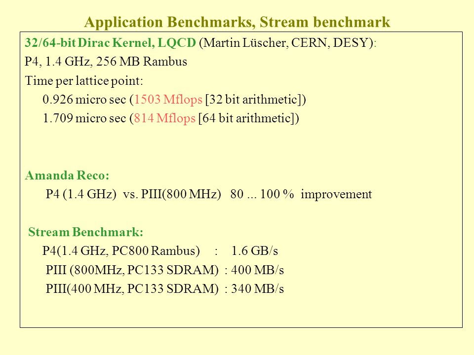 Application Benchmarks, Stream benchmark 32/64-bit Dirac Kernel, LQCD (Martin Lüscher, CERN, DESY): P4, 1.4 GHz, 256 MB Rambus Time per lattice point: 0.926 micro sec (1503 Mflops [32 bit arithmetic]) 1.709 micro sec (814 Mflops [64 bit arithmetic]) Amanda Reco: P4 (1.4 GHz) vs.