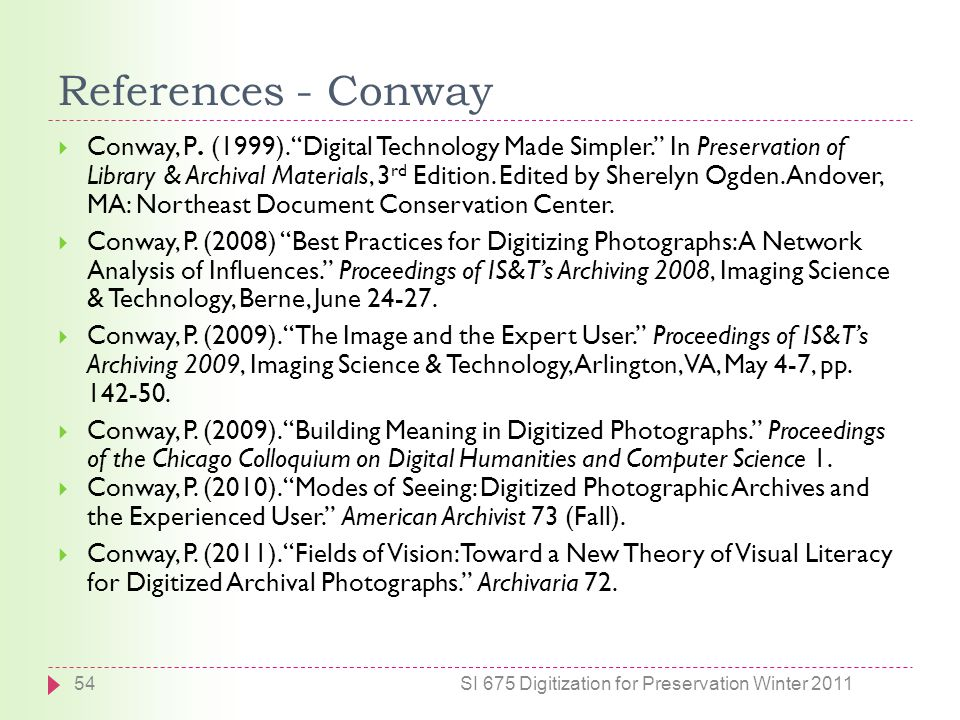 References - Conway  Conway, P. (1999).