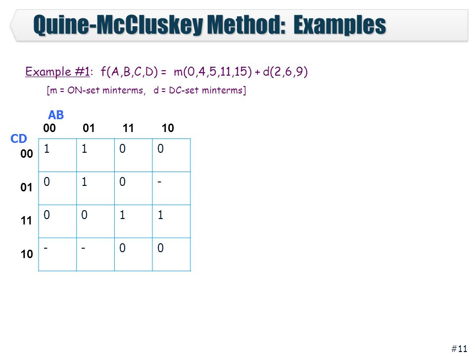 #11 Quine-McCluskey Method: Examples 1100 010- 0011 --00 00 01 11 10 00 01 11 10 AB CD Example #1: f(A,B,C,D) = m(0,4,5,11,15) + d(2,6,9) [m = ON-set minterms, d = DC-set minterms]