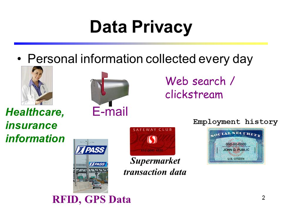 2 Data Privacy Personal information collected every day Healthcare, insurance information Supermarket transaction data RFID, GPS Data E-mail Employment history Web search / clickstream