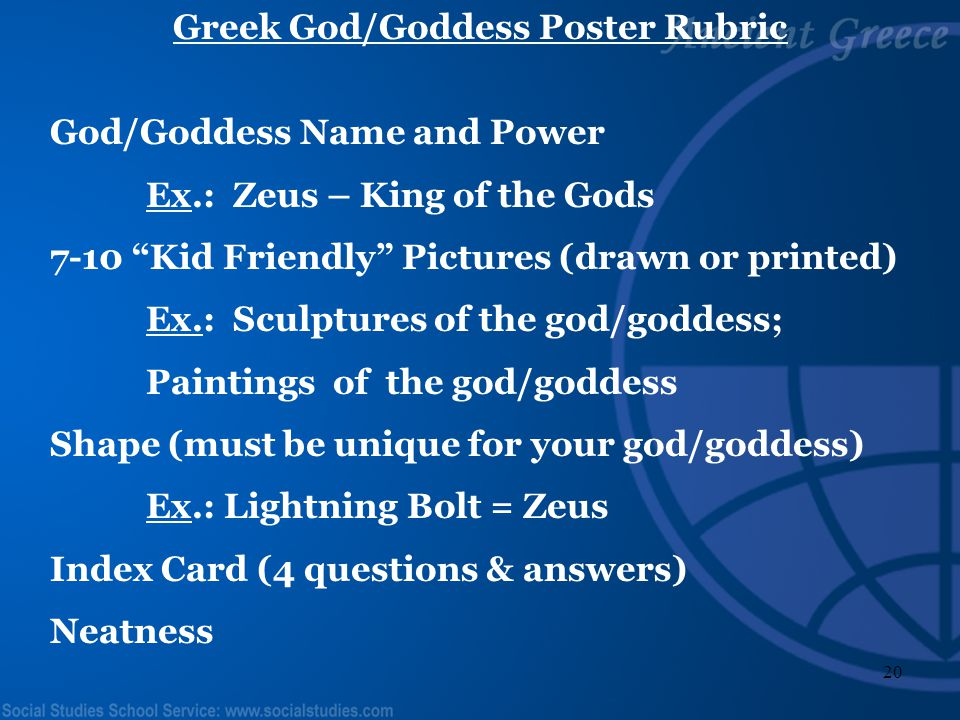 19 Greek Myth Book Rubric Title Page – Decorated Identify the correct information from the myth (Title, Characters, Setting, Point of View, Conflict)