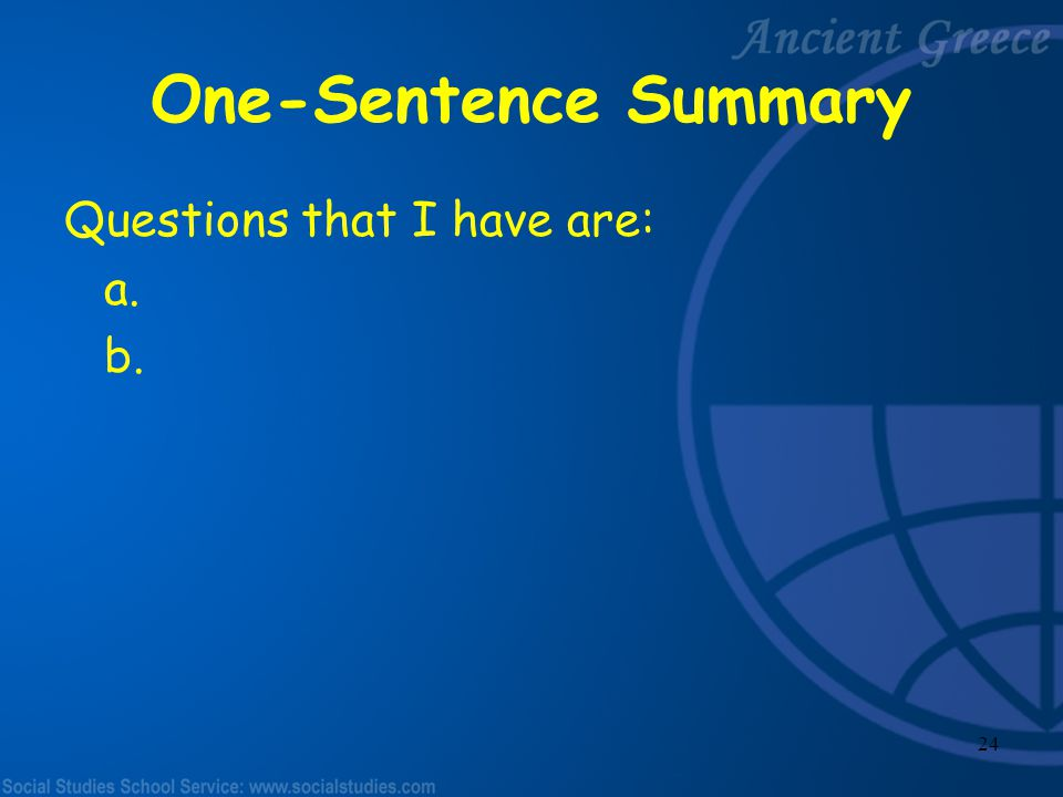 23 One-Sentence Summary I found out ____________________.