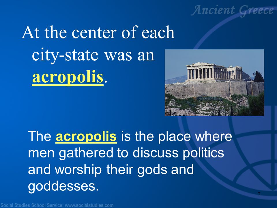 6 The most famous city- states were Athens, Sparta, and Olympia. They each had their own laws and rulers. Olympia Sparta