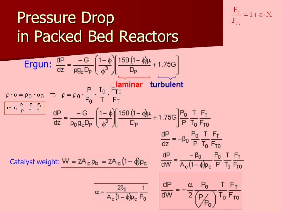 Pressure Drop in Packed Bed Reactors Ergun: Catalyst weight: