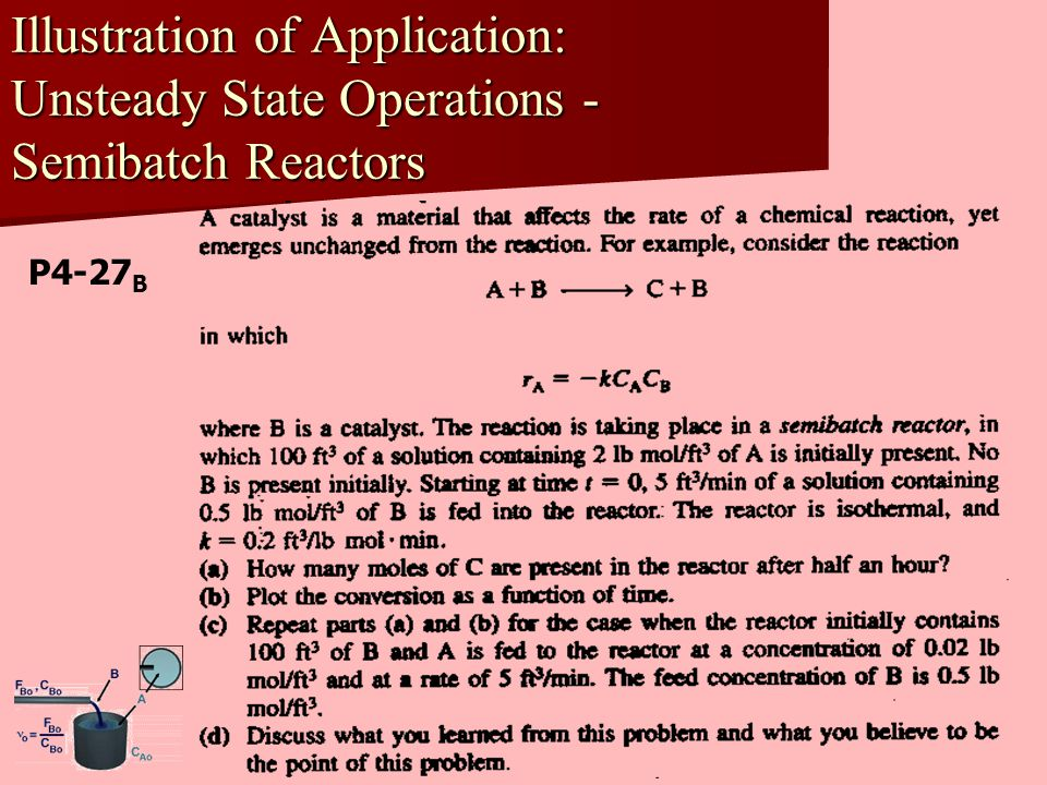 Illustration of Application: Unsteady State Operations - Semibatch Reactors P4-27 B