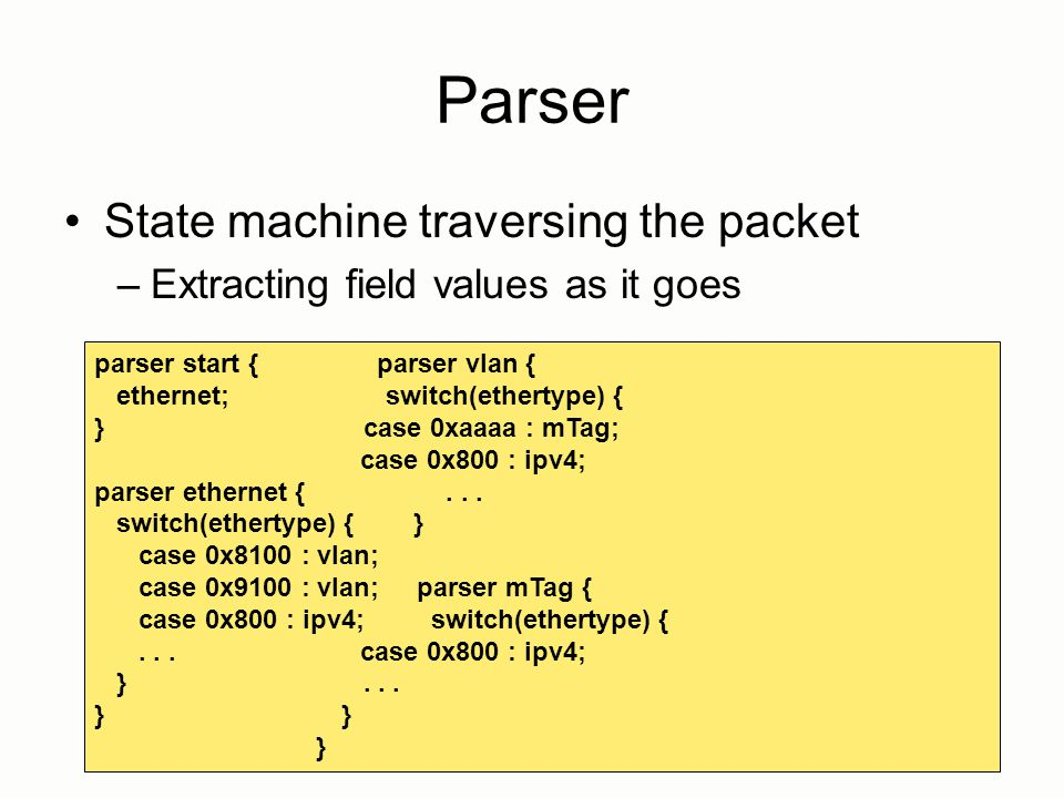 Parser State machine traversing the packet –Extracting field values as it goes 14 parser start { parser vlan { ethernet; switch(ethertype) { } case 0x