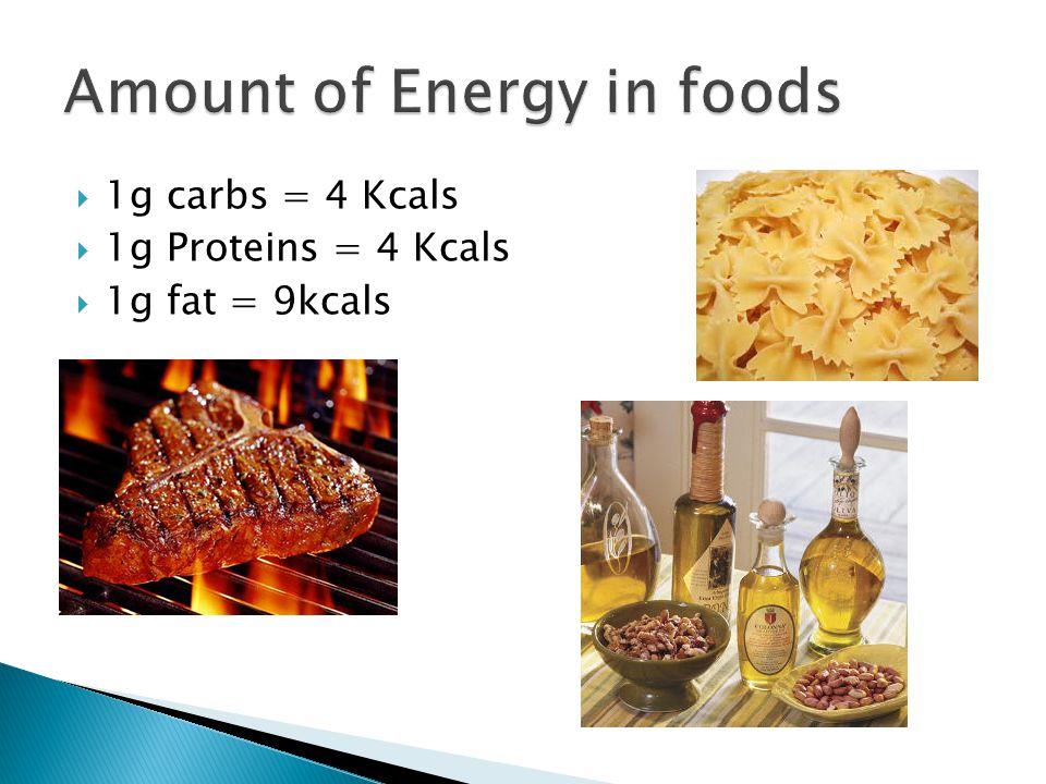 1g carbs = 4 Kcals  1g Proteins = 4 Kcals  1g fat = 9kcals