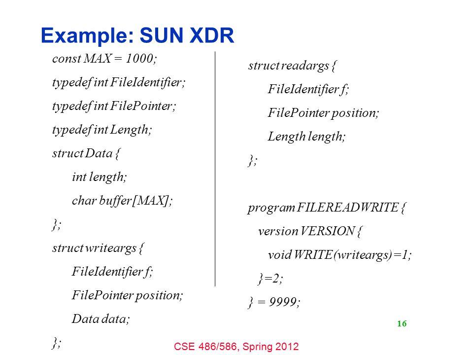 CSE 486/586, Spring 2012 Stub Generation 17 Interface Specification Stub Generator Server Stub Common Header Client Stub Client Source RPC LIBRARY Server Source Compiler / Linker RPC LIBRARY Client Program Server Program Compiler / Linker e.g., in SUN XDR e.g., rpcgen gcc.o,.exe.c.h gcc