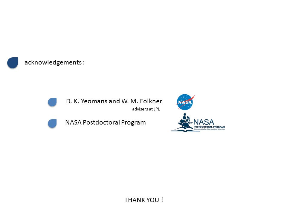 THANK YOU .acknowledgements : D. K. Yeomans and W.