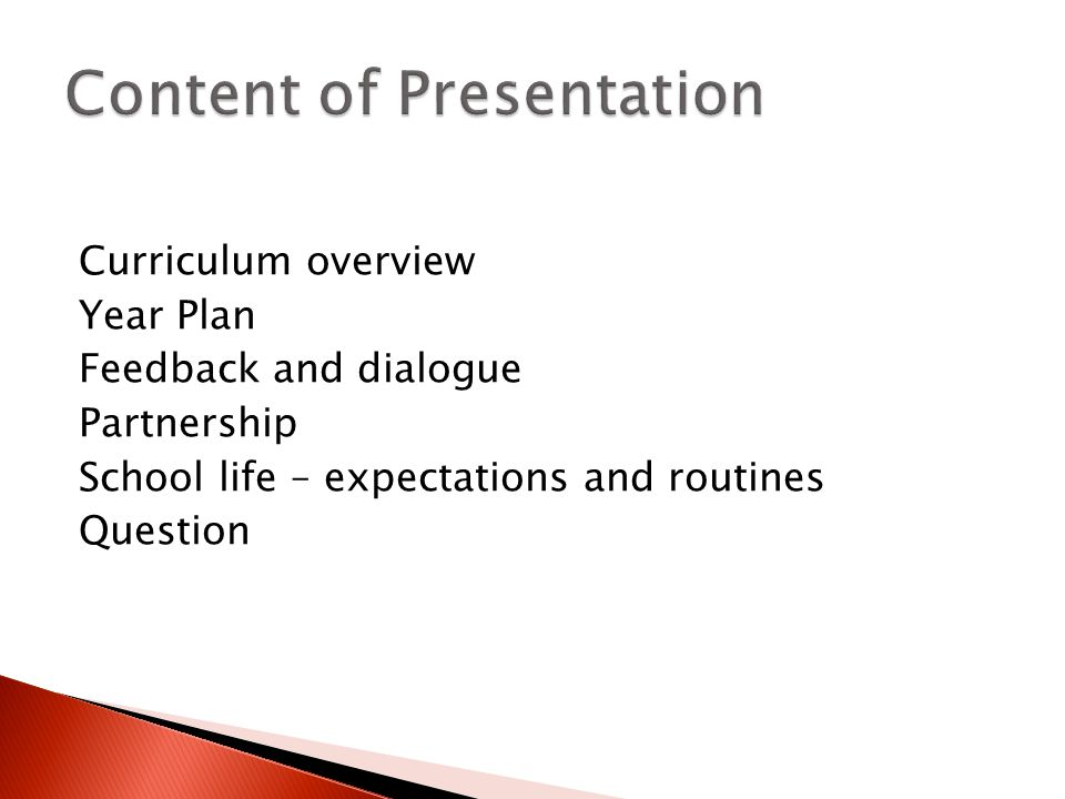 Curriculum overview Year Plan Feedback and dialogue Partnership School life – expectations and routines Question