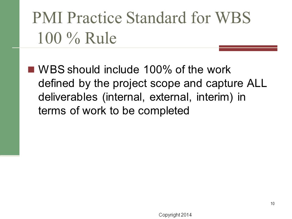 Copyright 2014 PMI Practice Standard for WBS 100 % Rule WBS should include 100% of the work defined by the project scope and capture ALL deliverables
