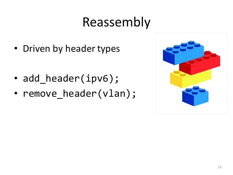 Reassembly Driven by header types add_header(ipv6); remove_header(vlan); 14