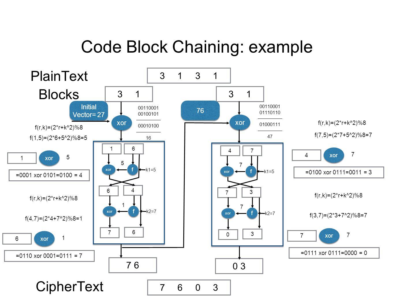 Code Block Chaining: example 31313131 31313131 PlainText Blocks 7 6 CipherText xor Initial Vector= 27 xor 0 3 00110001 00100101 ————— 00010100 ————— 16 16 f f xor 5 k1=5 4 6 f f xor 1 k2=7 6 7 =0001 xor 0101=0100 = 4 f(r,k)=(2*r+k^2)%8 f(1,5)=(2*6+5^2)%8=5 1 xor 5 =0110 xor 0001=0111 = 7 f(r,k)=(2*r+k^2)%8 f(4,7)=(2*4+7^2)%8=1 6 xor 1 76 00110001 01110110 ————— 01000111 ————— 47 47 f f xor 7 k1=5 3 7 f f xor 7 k2=7 3 0 f(r,k)=(2*r+k^2)%8 =0100 xor 0111=0011 = 3 f(7,5)=(2*7+5^2)%8=7 4 xor 7 =0111 xor 0111=0000 = 0 f(r,k)=(2*r+k^2)%8 f(3,7)=(2*3+7^2)%8=7 7 xor 7 76037603