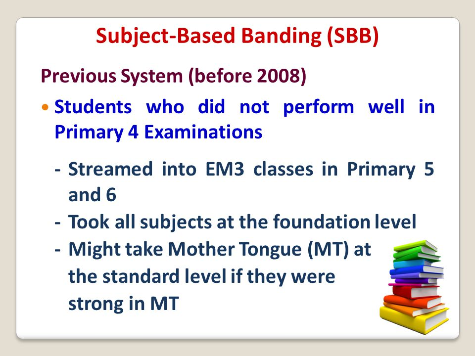 Students who did not perform well in Primary 4 Examinations - Streamed into EM3 classes in Primary 5 and 6 - Took all subjects at the foundation level