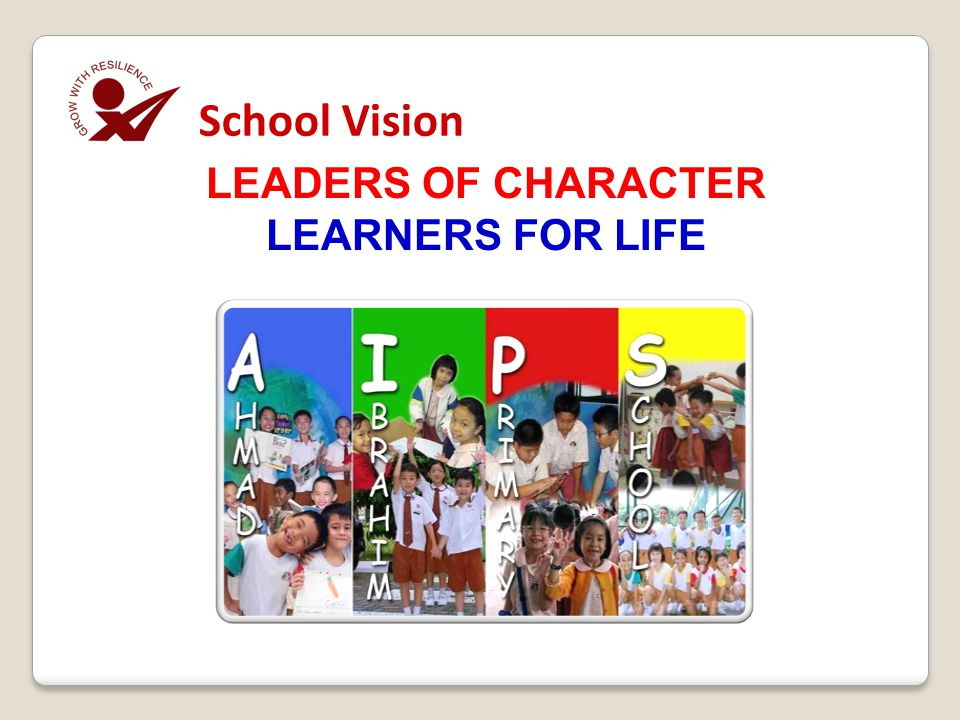 LEADERS OF CHARACTER LEARNERS FOR LIFE School Vision