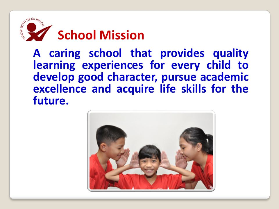 A caring school that provides quality learning experiences for every child to develop good character, pursue academic excellence and acquire life skil