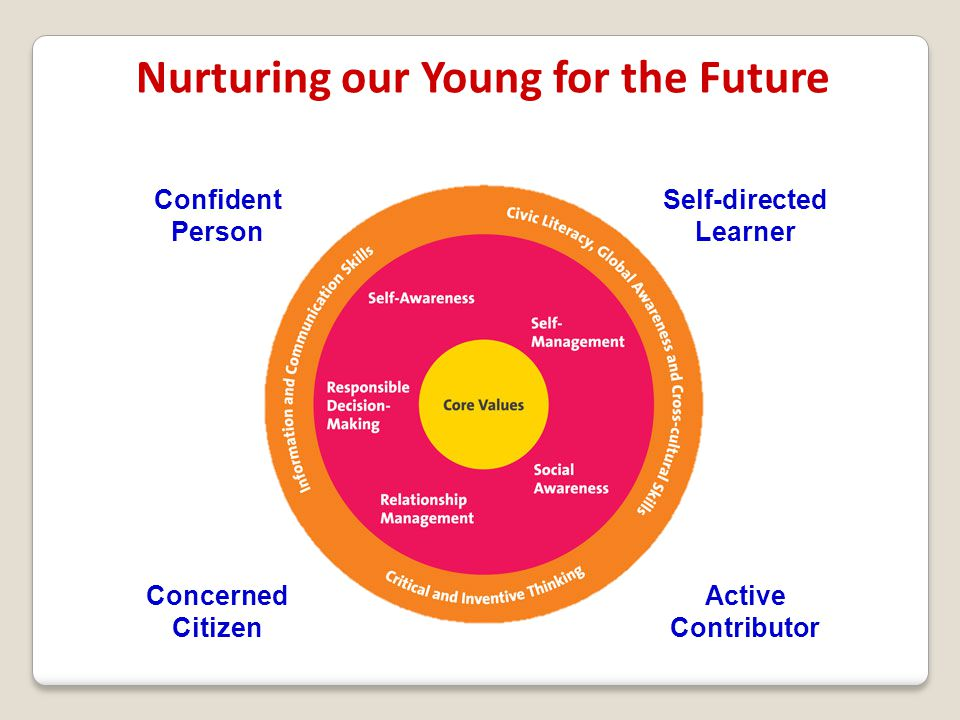 Nurturing our Young for the Future Self-directed Learner Confident Person Active Contributor Concerned Citizen