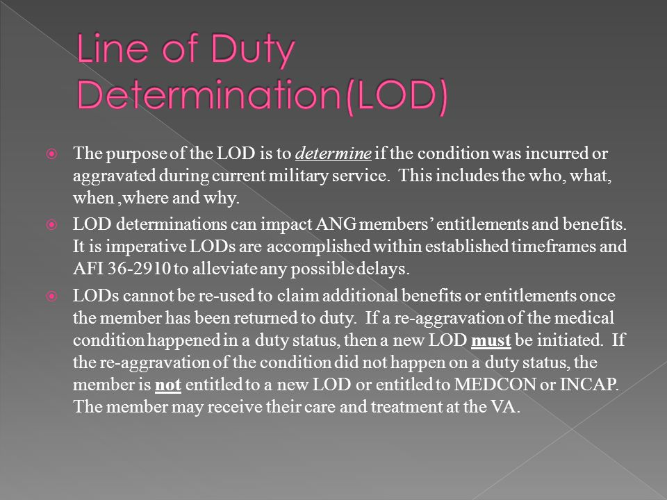  AFI 36-2910 is the Line of Duty Determination Regulation.
