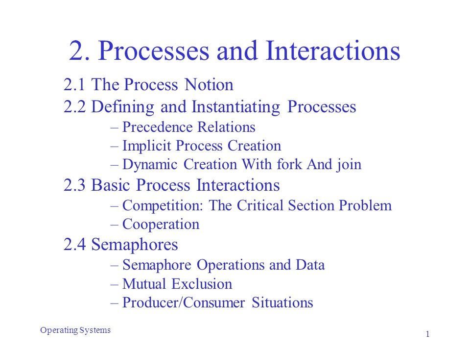 Peterson's algorithm Processes indicate intent to enter CS as in #2 and #3 (by setting c1 or c2 ) After a process indicates its intent to enter, it (politely) tells the other that it will wait if necessary (using willWait ) It then waits until one of the following is true: –The other process is not trying to enter; or –The other process has said that it will wait (by changing the value of the willWait variable.) Shared variable willWait is the key: –with #3: both processes can reset c1/c2 simultaneously –with Peterson: willWait can only have a single value 32 Operating Systems