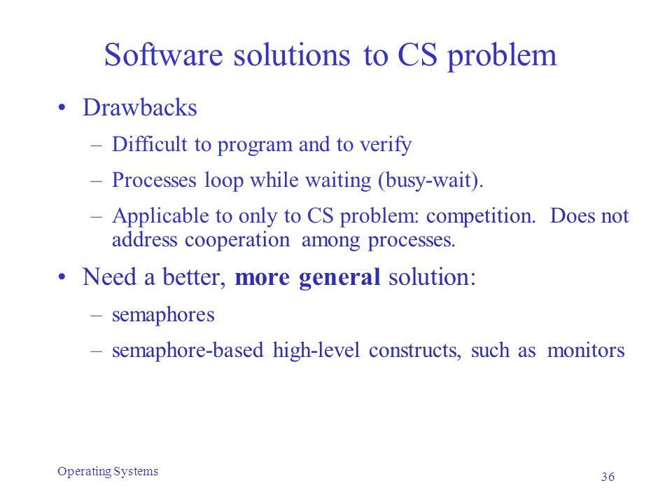 Software solutions to CS problem Drawbacks –Difficult to program and to verify –Processes loop while waiting (busy-wait). –Applicable to only to CS pr