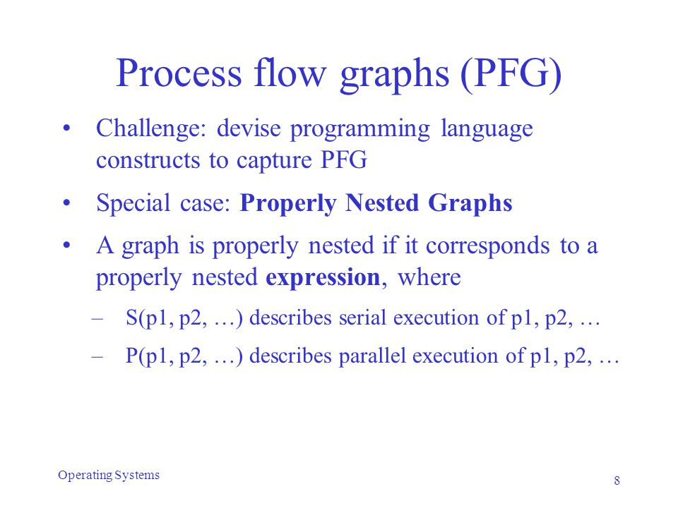 Process flow graphs 9 Operating Systems (a) S(p1, p2, p3, p4) (b) P(p1, p2, p3, p4) Strictly sequential or strictly parallel execution