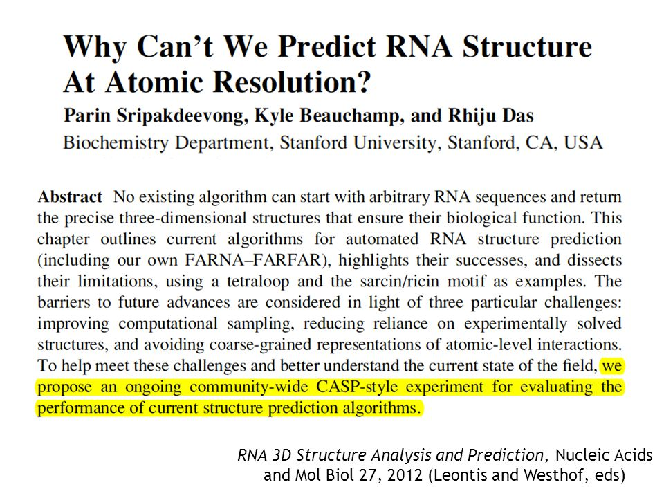 RNA 3D Structure Analysis and Prediction, Nucleic Acids and Mol Biol 27, 2012 (Leontis and Westhof, eds)