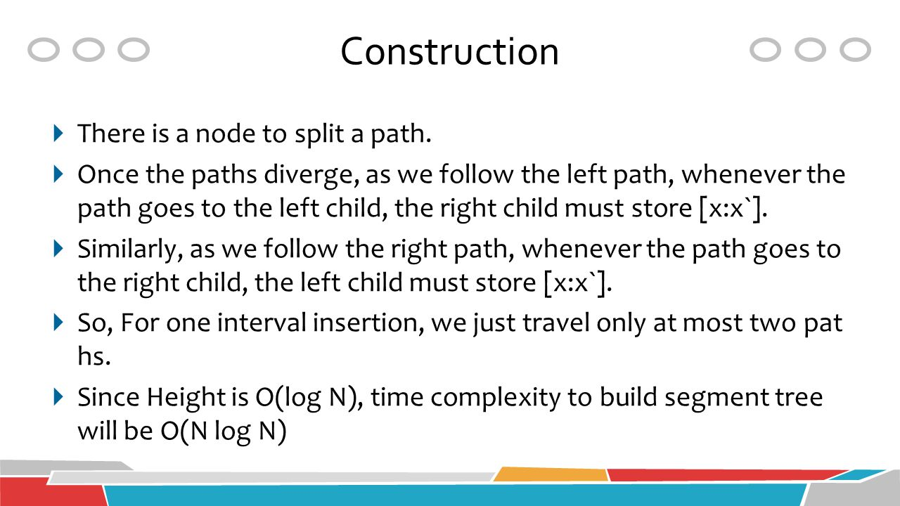 Construction  There is a node to split a path.  Once the paths diverge, as we follow the left path, whenever the path goes to the left child, the ri