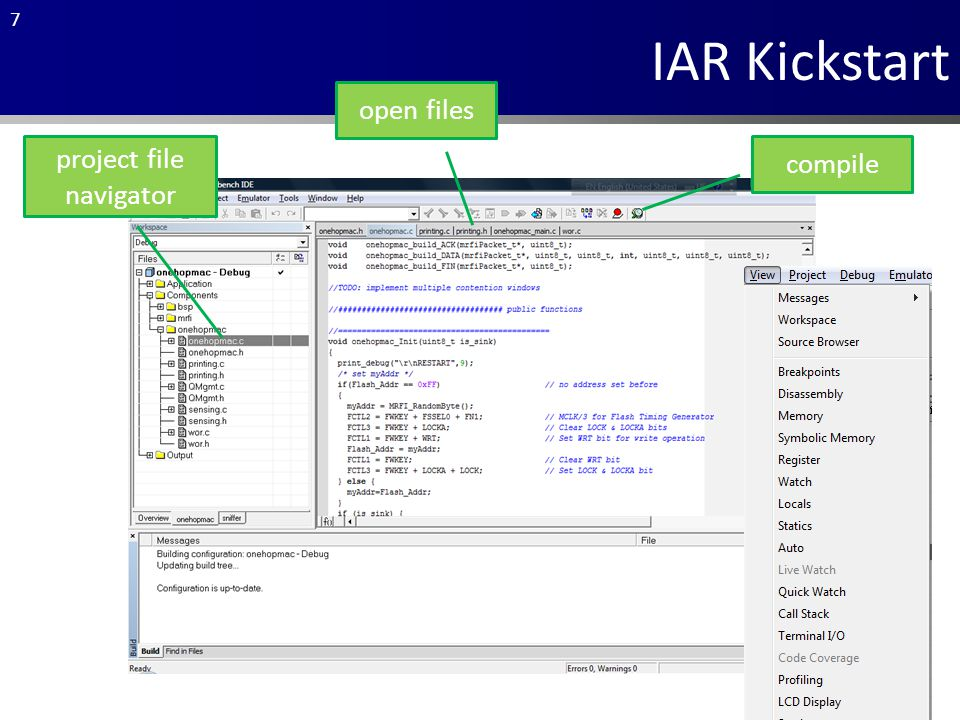 7 IAR Kickstart project file navigator compile open files