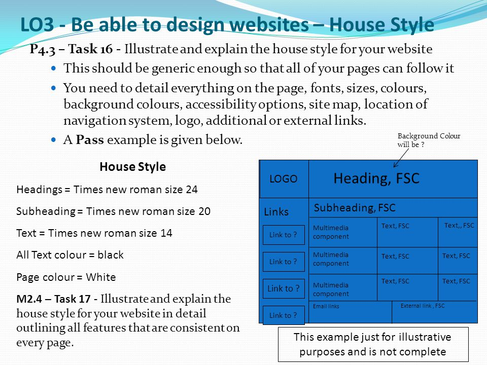 P4.3 – Task 16 - Illustrate and explain the house style for your website This should be generic enough so that all of your pages can follow it You nee