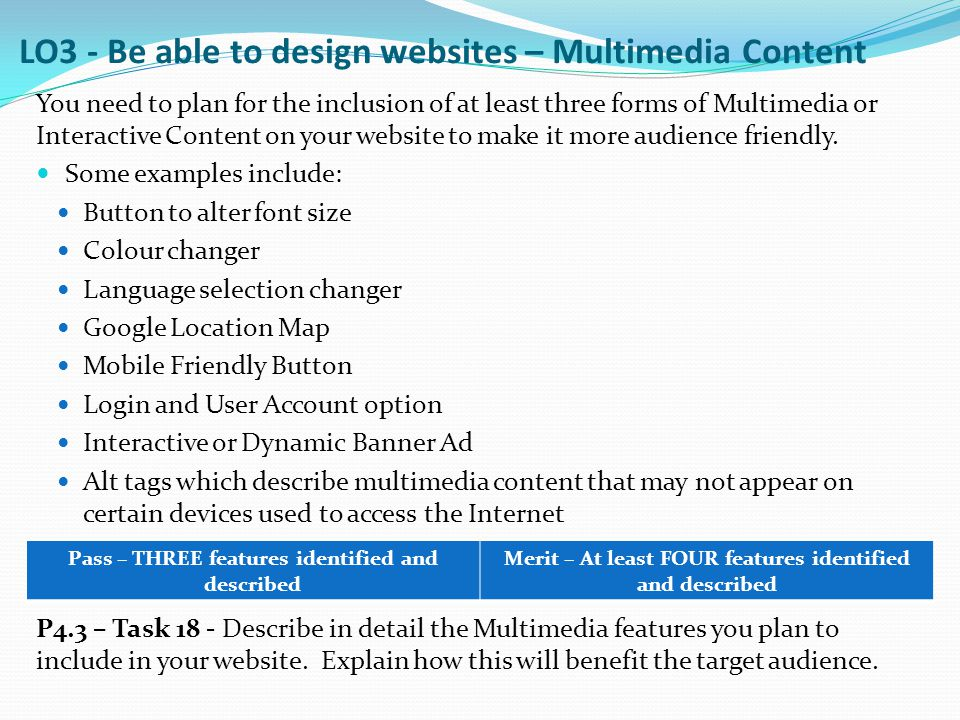 You need to plan for the inclusion of at least three forms of Multimedia or Interactive Content on your website to make it more audience friendly. Som