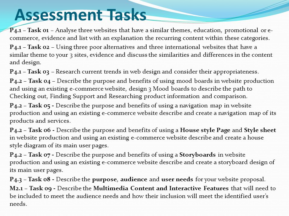 P4.1 – Task 01 – Analyse three websites that have a similar themes, education, promotional or e- commerce, evidence and list with an explanation the r