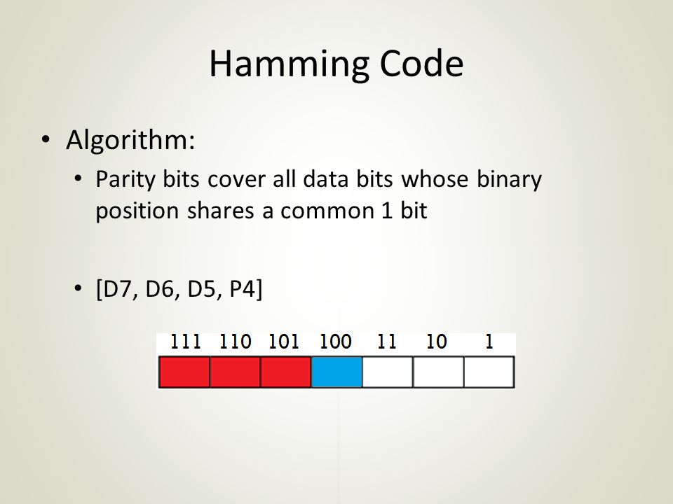 Hamming Code Algorithm: Parity bits cover all data bits whose binary position shares a common 1 bit [D7, D6, D5, P4]