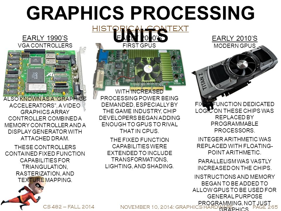 COMPUTER GRAPHICS CS 482 – FALL 2014 NOVEMBER 10, 2014 GRAPHICS HARDWARE GRAPHICS PROCESSING UNITS PARALLELISM