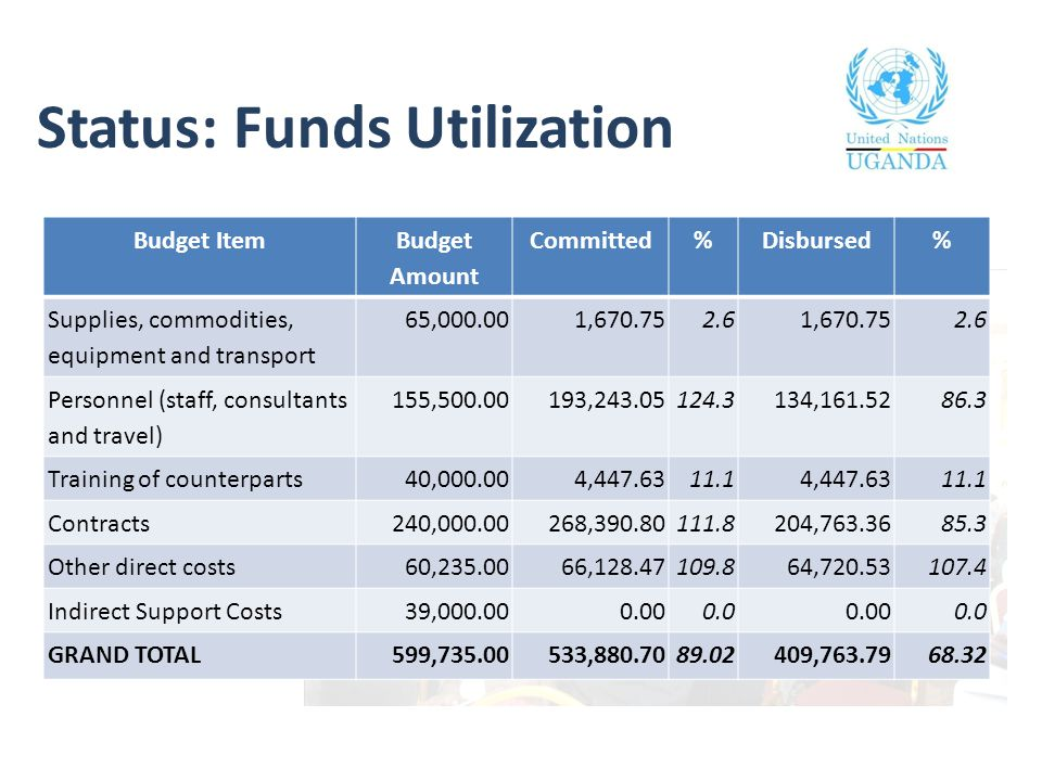 Status: Funds Utilization Budget Item Budget Amount Committed%Disbursed% Supplies, commodities, equipment and transport 65,000.001,670.752.61,670.752.6 Personnel (staff, consultants and travel) 155,500.00193,243.05124.3134,161.5286.3 Training of counterparts40,000.004,447.6311.14,447.6311.1 Contracts240,000.00268,390.80111.8204,763.3685.3 Other direct costs60,235.0066,128.47109.864,720.53107.4 Indirect Support Costs39,000.000.000.00.000.0 GRAND TOTAL599,735.00533,880.7089.02409,763.7968.32