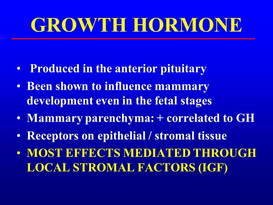 PLACENTAL LACTOGEN Produced by the placenta (fetal origin Growth hormone and prolactin-like activities Linkage to calf size / future milk production.